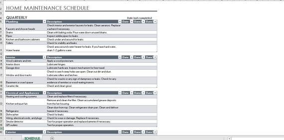 Home maintenance schedule and task list excel planner task Etsy