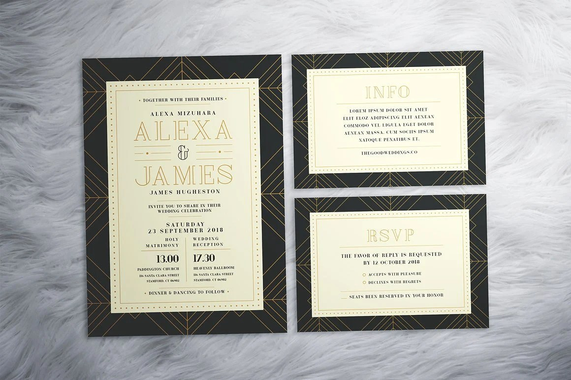 Art Deco Wedding Invitations Gatsby Wedding Invitation Etsy
