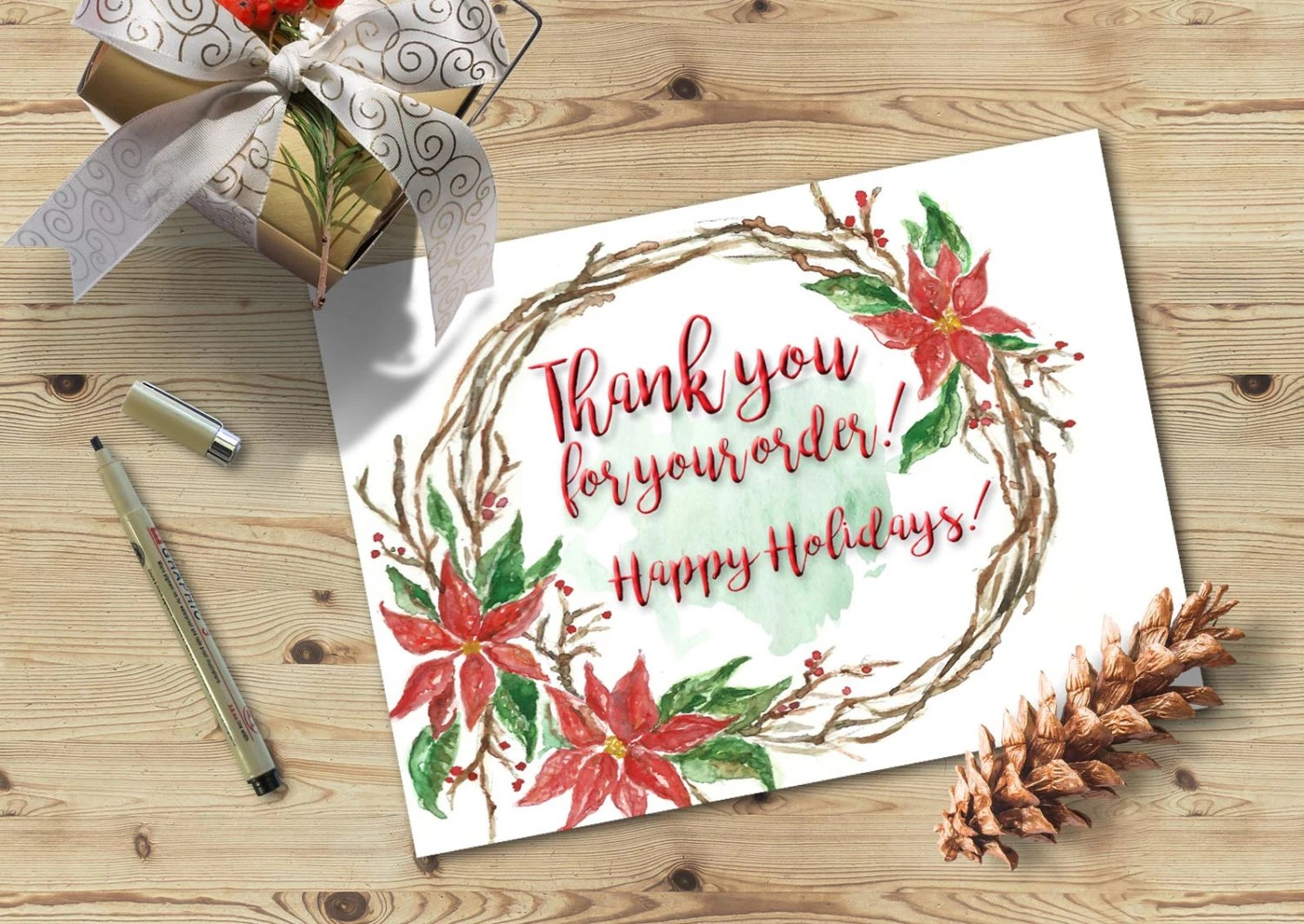 Thank you for your order Christmas Thank you card Printable Etsy