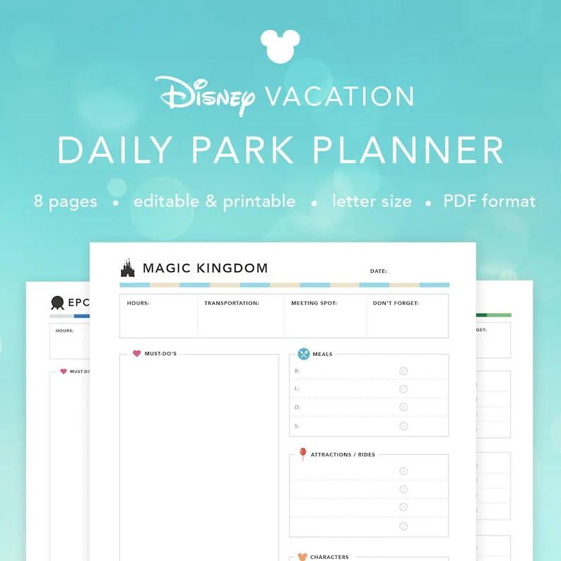 EDITABLE Disney World Daily Parks Planner Printable Disney Etsy