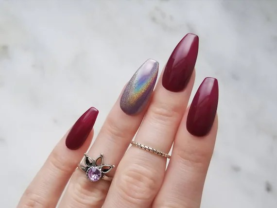 Glossy Burgundy Press On Nails With Holographic Accent