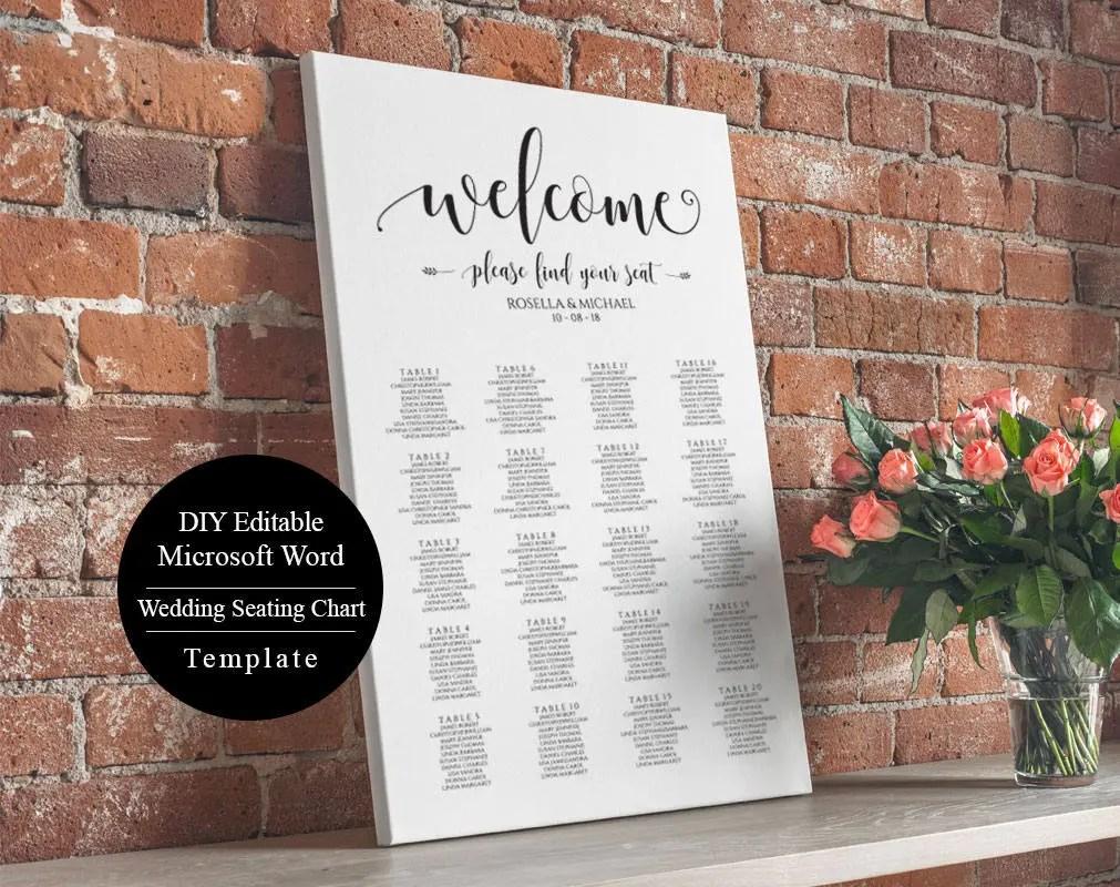 Editable Wedding Table Seating Chart Poster Sign Wedding