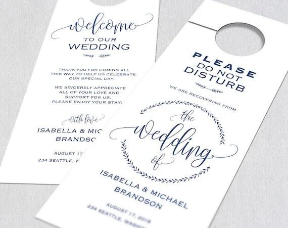 Navy Blue Wedding Door Hanger Door Hanger Printable Door Etsy