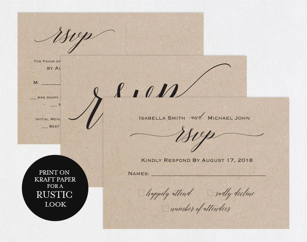 RSVP postcards templates Wedding rsvp cards rsvp online Etsy