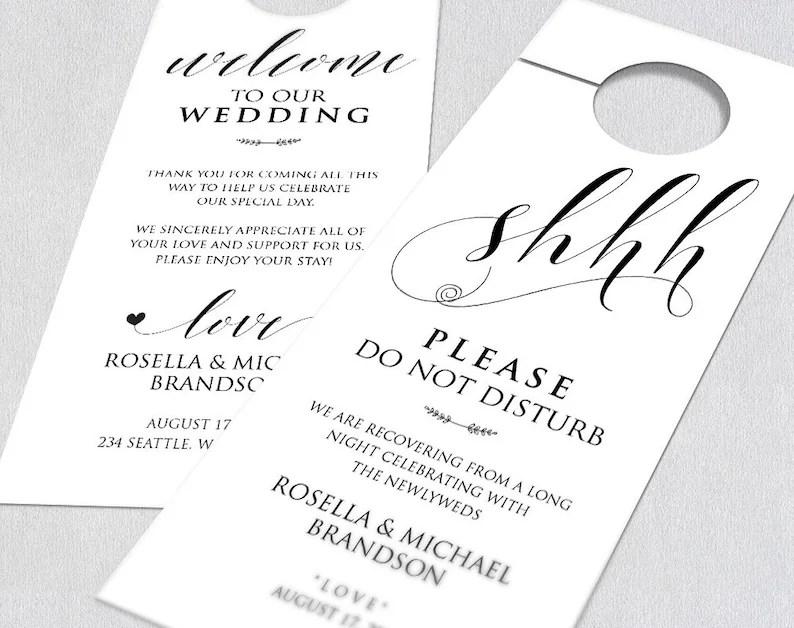 Wedding Door Hanger Template Wedding Door Tag Door Hanger Do Etsy