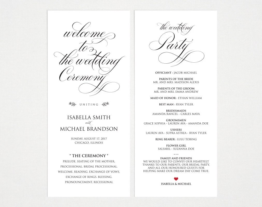 Rustic Wedding Program Template Wedding Ceremony Program Etsy