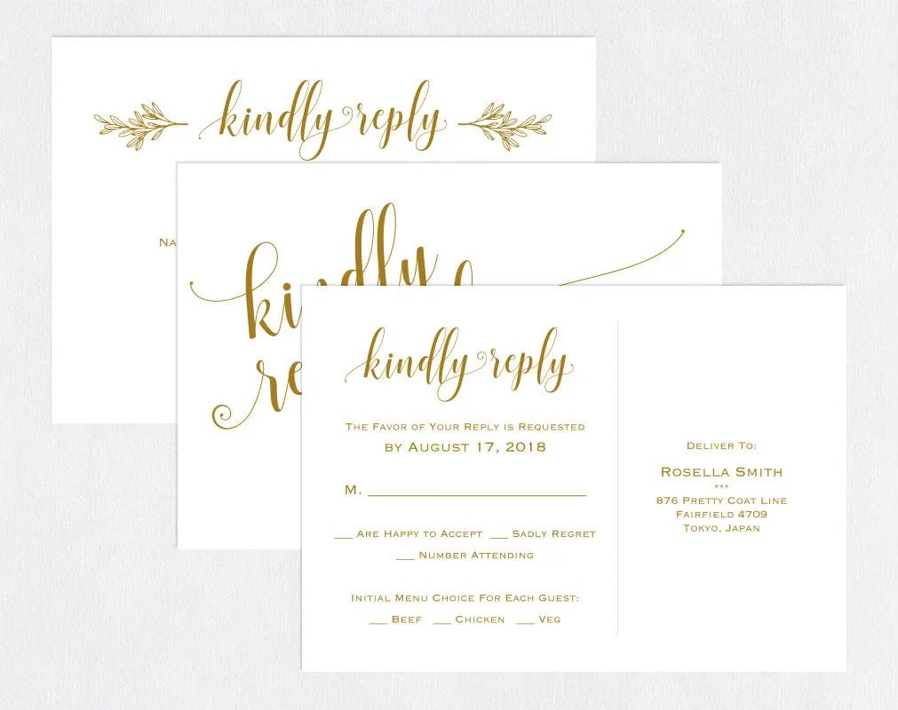 Gold RSVP postcards templates Wedding rsvp cards rsvp Etsy