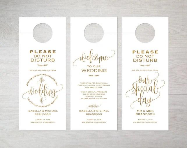 Gold Wedding Door Hanger, Door Hanger Printable, Door Hanger