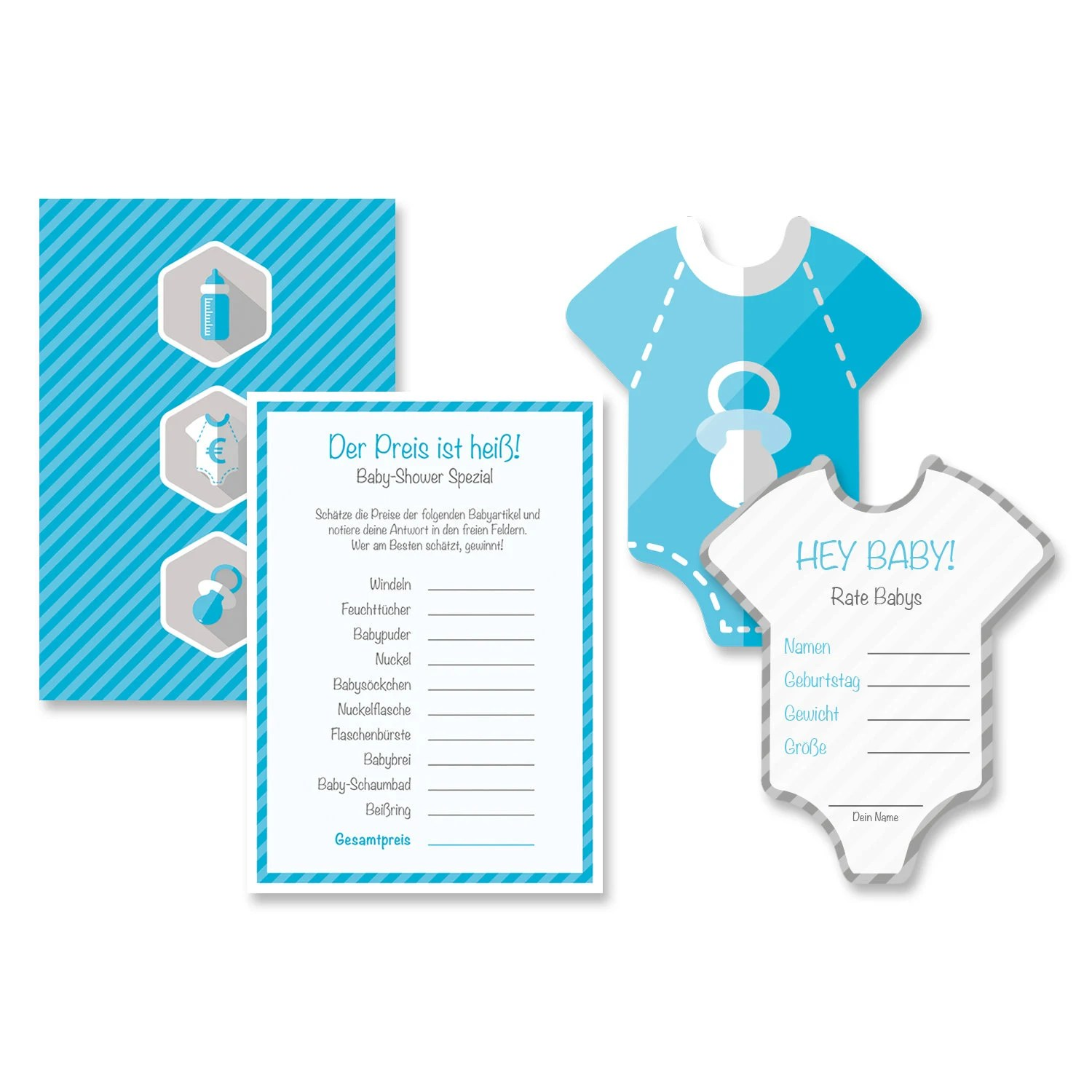 Geburtstag Party Set Baby Shower Baby Shower 16 Piece Game Set Boy Blue Party Game Quiz Game Invitation Party Souvenir Invitation Gift Party Card