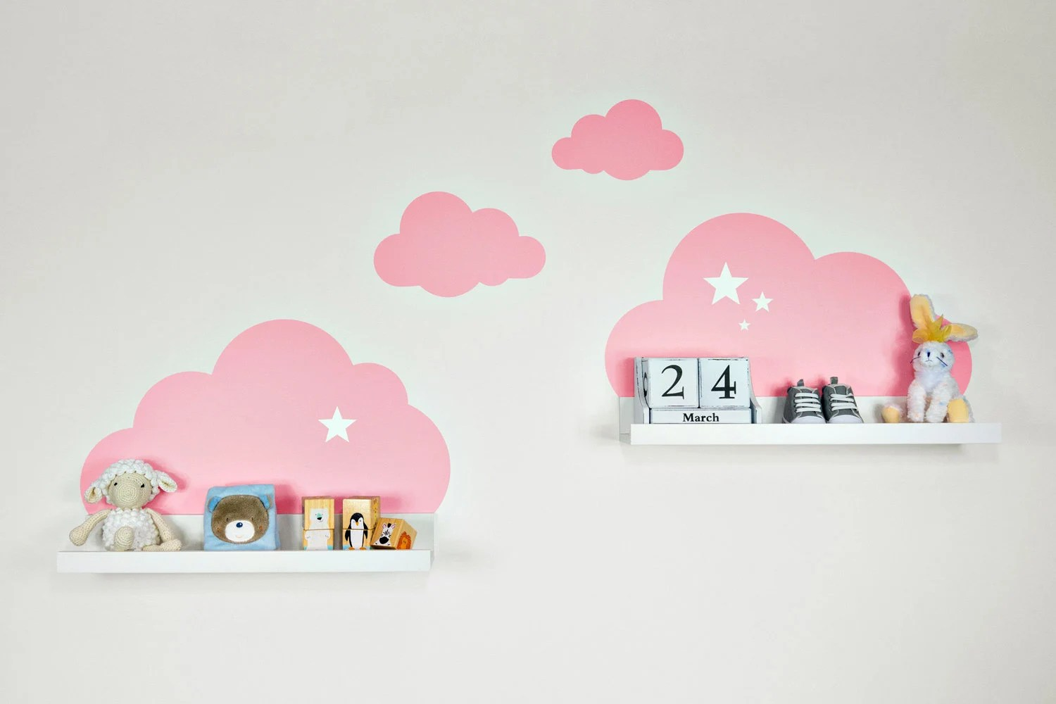 Ikea Bilderleiste Mosslanda Weiss Wall Decal Clouds Pink With Stars For Ikea Shelf Board Ribba Mosslanda 55 Cm Picture Bar For Baby Room Sticker Wall Wallpaper