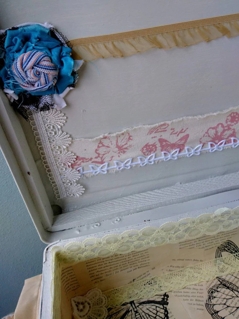 Vintage Lasur Shabby Chic Vintage Suitcase Real Vulcanite Storage Wedding Box Embroidery In Frame Handmade One House Boho White Brown Grey