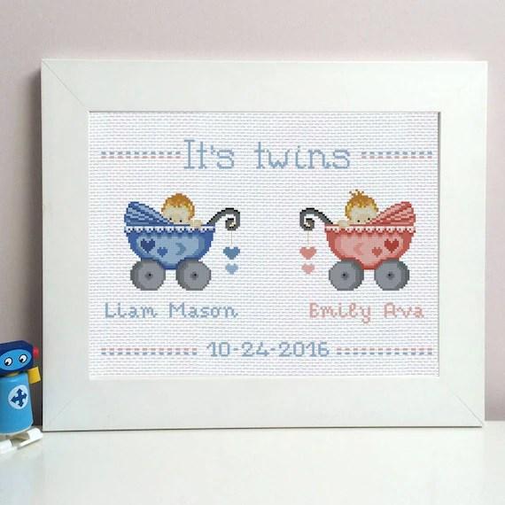 Twins cross stitch birth sampler new baby announcement birth Etsy