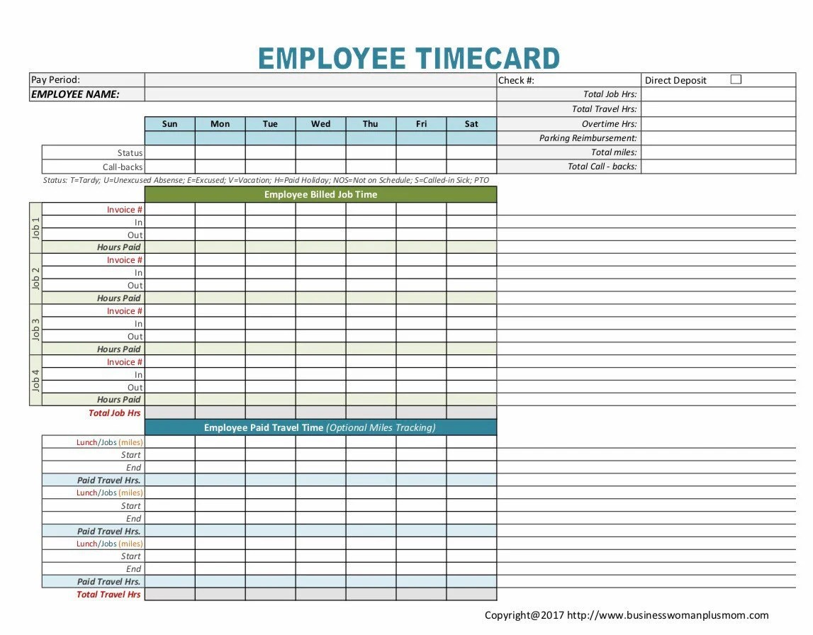 Employee Timecard Etsy