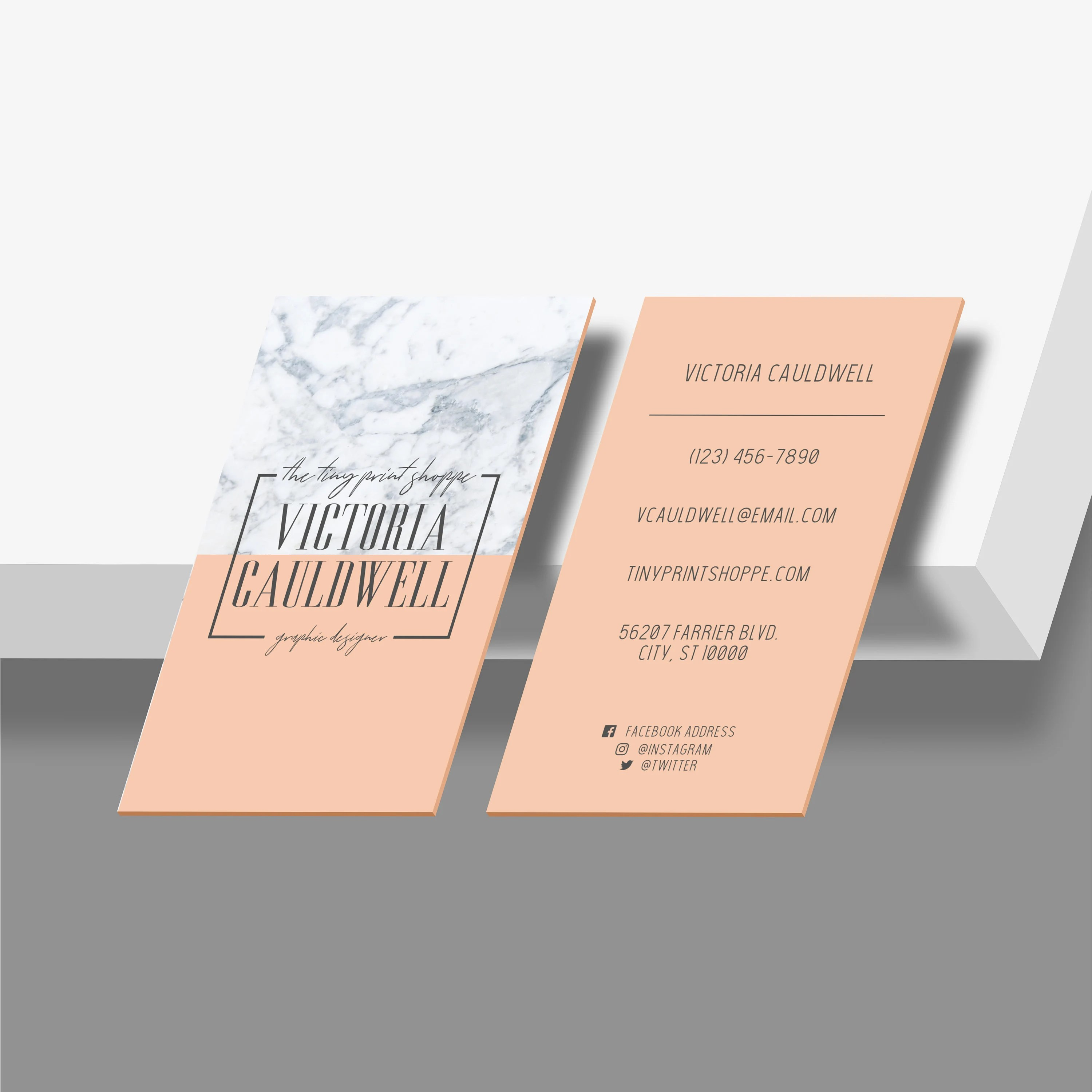 Granite and Pastel Business Card Design Vertical Business Etsy