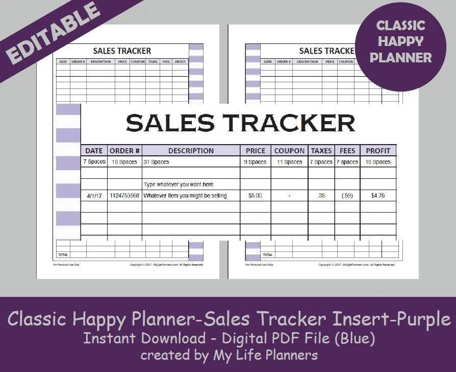 CLASSIC Happy Planner Sales Tracker Inserts, Editable Printable Happy  Planner Inserts, MAMBI Big Happy Planner Insert, PDF Download - Purple