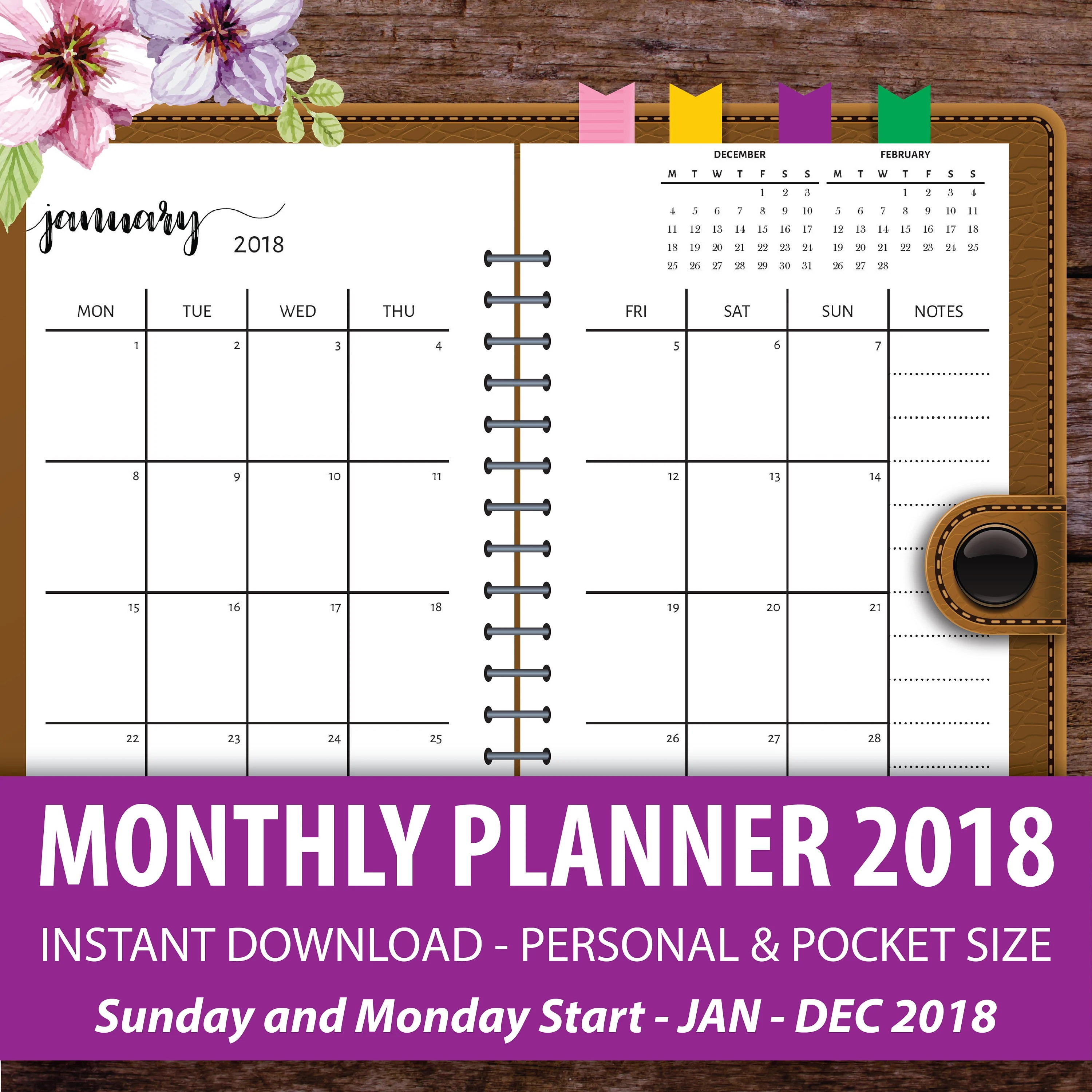 Printable Monthly Planner 2018 Monthly Calendar Planner - printable monthly planner