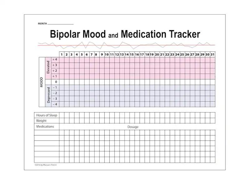 Printable Tracker for Depression  Bipolar Mood Medication Etsy