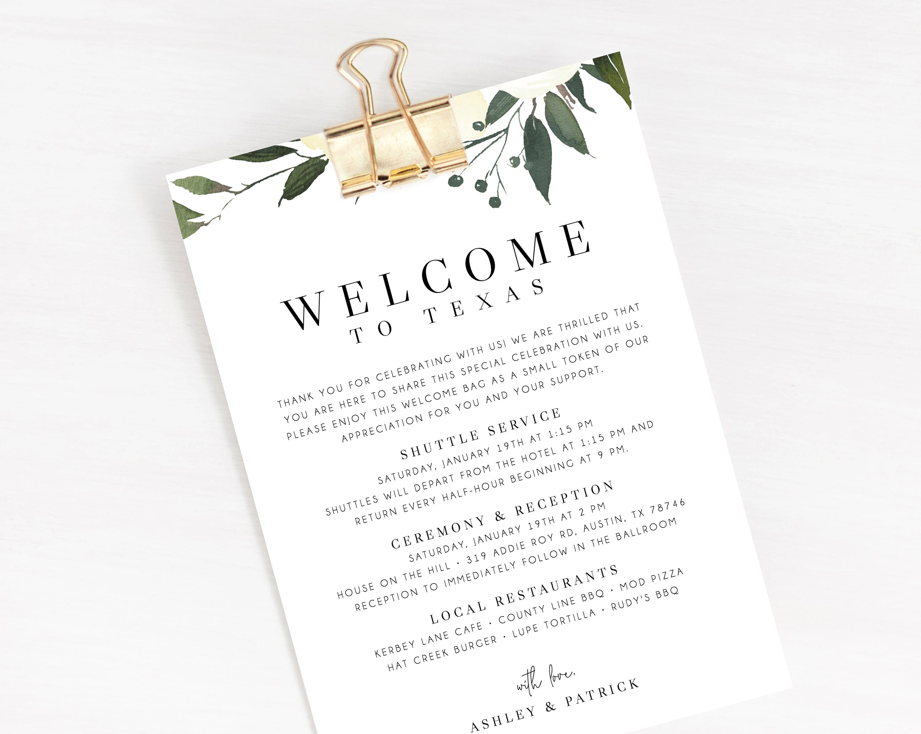 Welcome Letter Template, Wedding Itinerary Card, Welcome Bag Letter