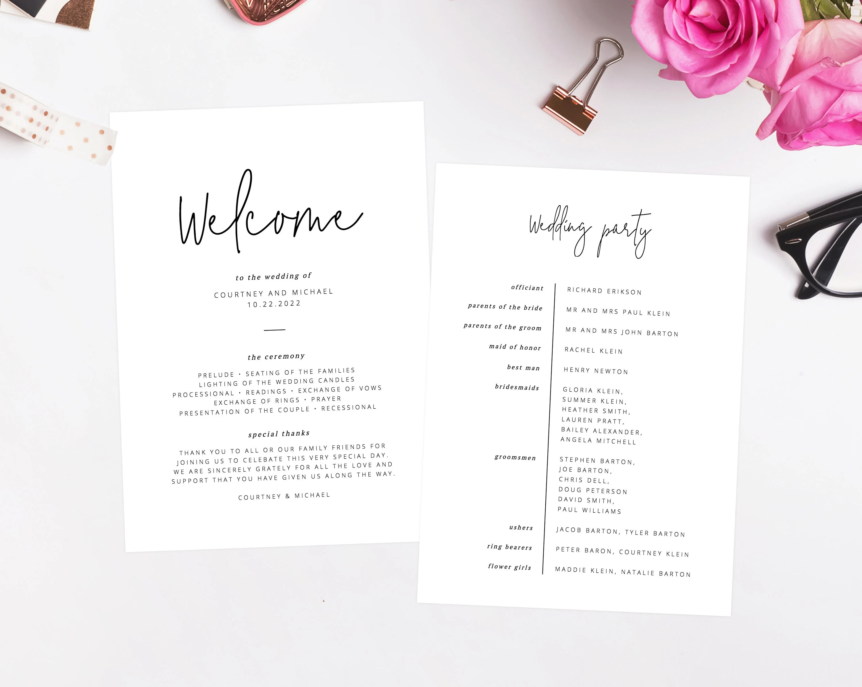 INSTANT DOWNLOAD Wedding Program Template Printable Wedding Etsy