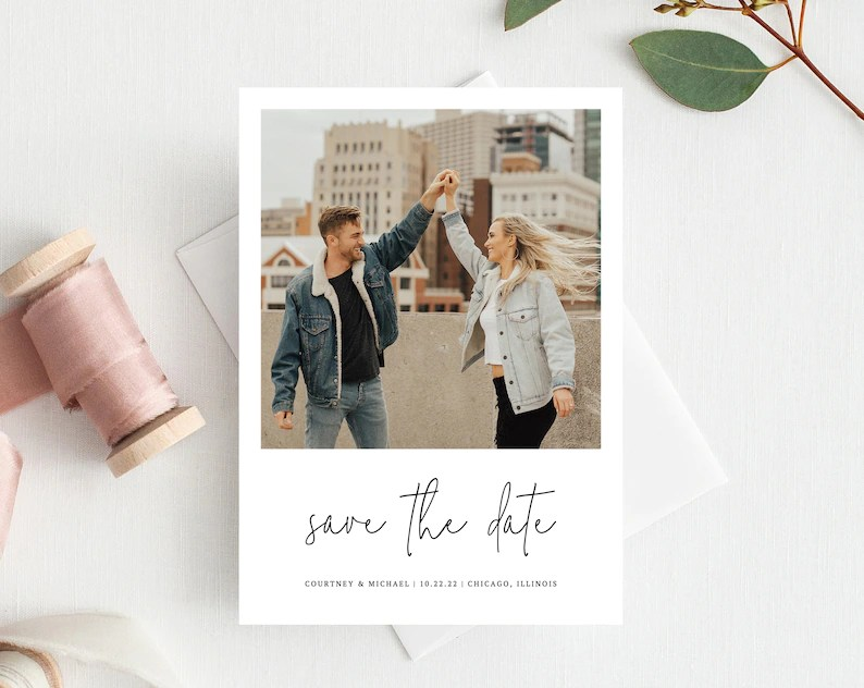 Polaroid Save the Date Save the Date with Pictures Template Etsy
