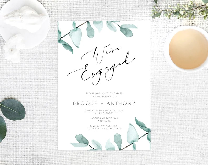 Greenery Engagement Party Invitation Template Printable Etsy