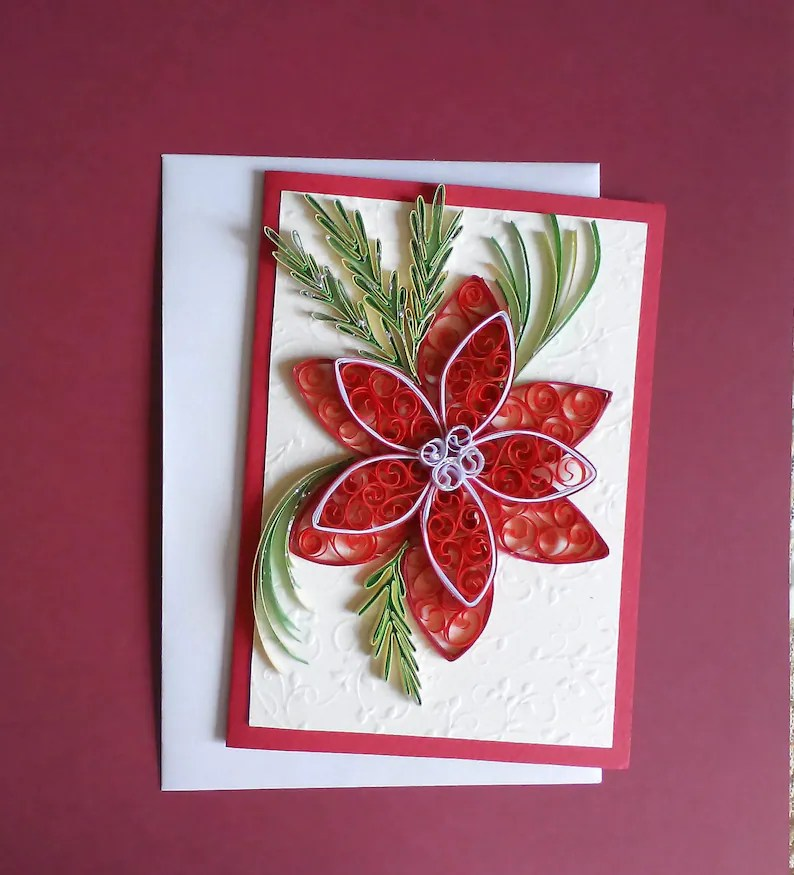 Christmas Card Handmade Poinsettia quilling Christmas card Etsy