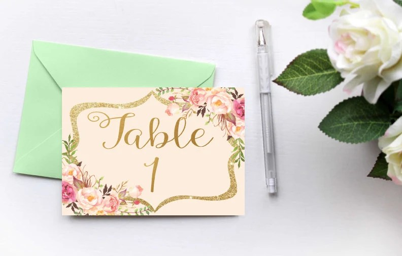 Table Number Cards, Printable Wedding Table Number, Wedding Table
