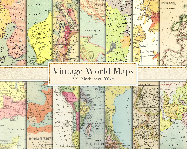 Vintage world maps scrapbook paper digital paper Etsy