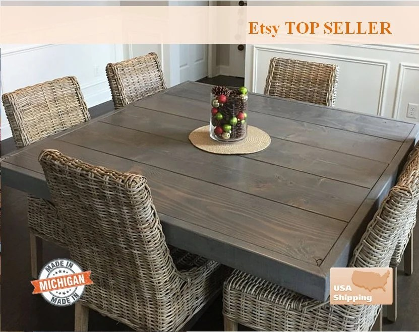 Farm House Table Dining Table Square Farm Table Square Etsy