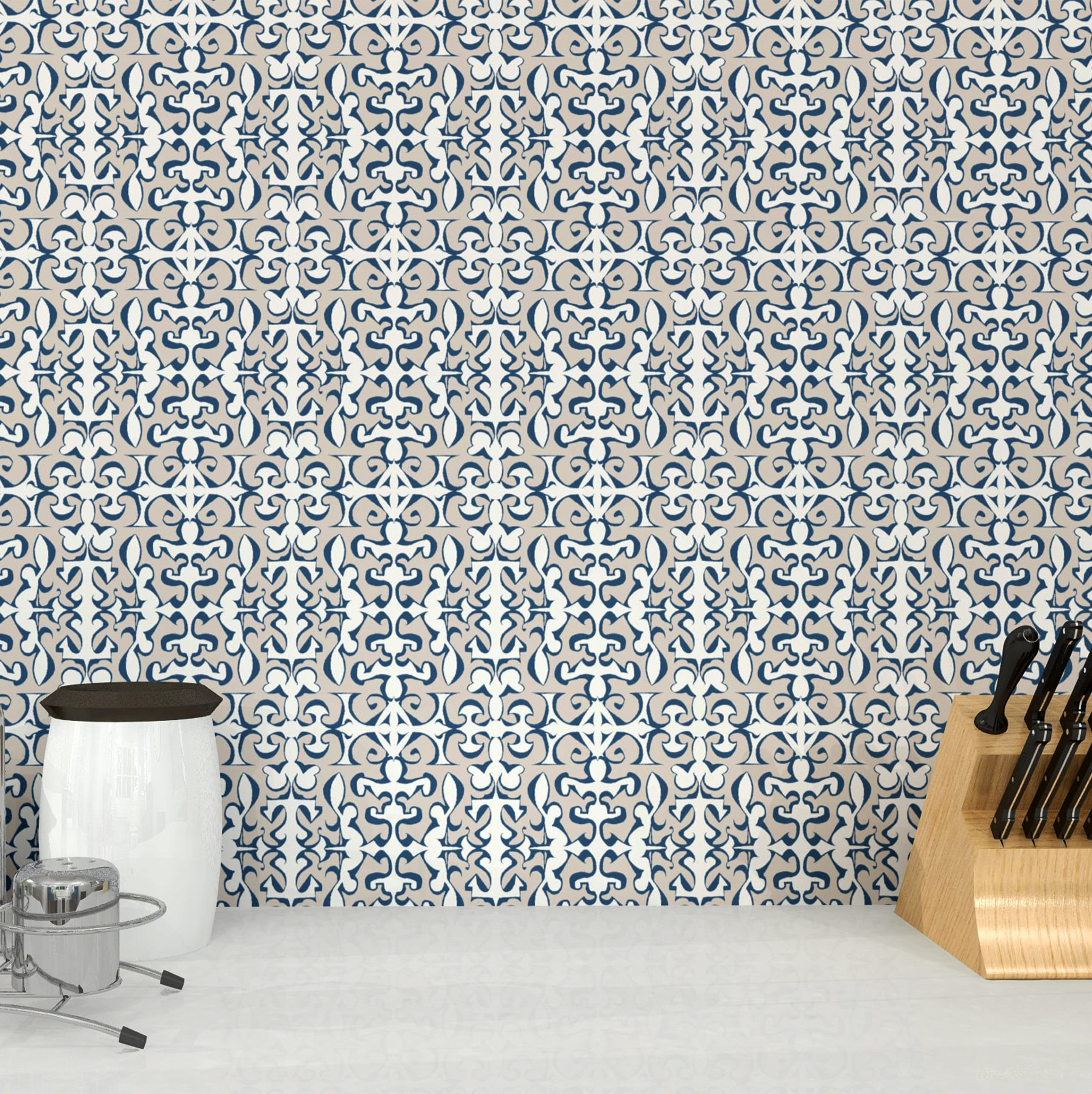 Chic Contemporary Modern Wallpaper Cottage Arabesque Stone Ink Peel And Stick Removable Wallpaper 2 X 8 Rolls Modern Moroccan Abstract Boho Cottage Chic Wall Covering