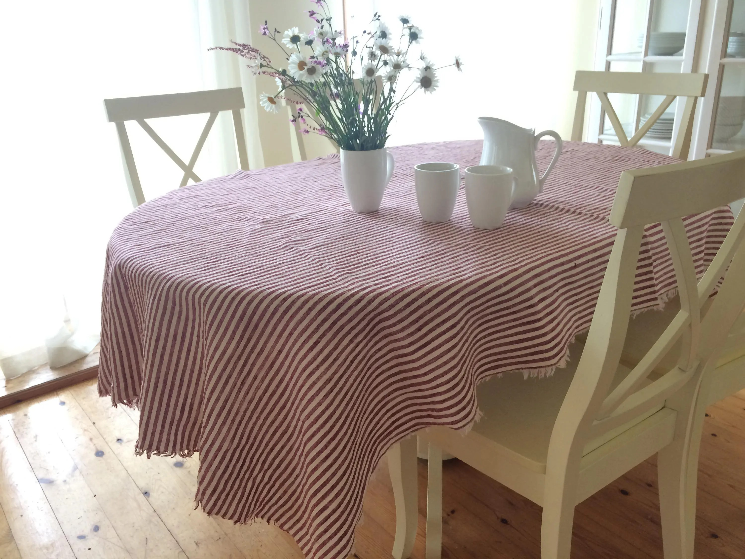 Christmas Tablecloths Australia Red And White Striped Tablecloth Christmas Linen Tablecloth Red