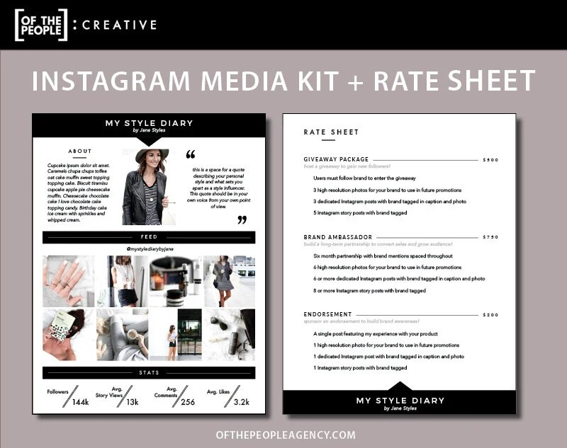 2-Page Media Kit Rate Sheet Template For Instagram - rate sheet template