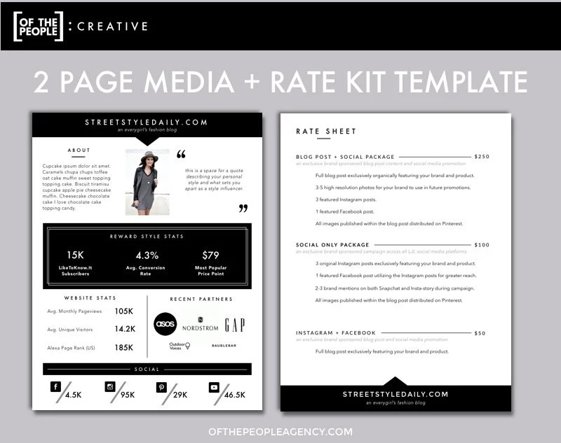 2-Page Media Kit Template Press Kit for Bloggers  Influencers - media kit template
