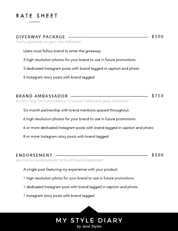 2-Page Media Kit + Rate Sheet Template For Instagram Influencers