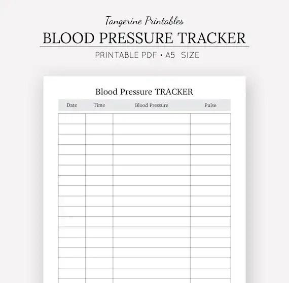 Blood Pressure Tracker Health Journal A5 Insert A5 Etsy - blood pressure printable log