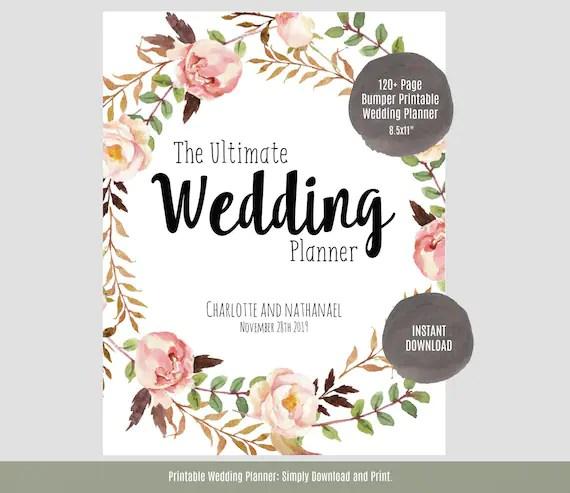 Wedding Planner, Printable Wedding Planner, Wedding Binder, DIY planning  organizer, 85x11\
