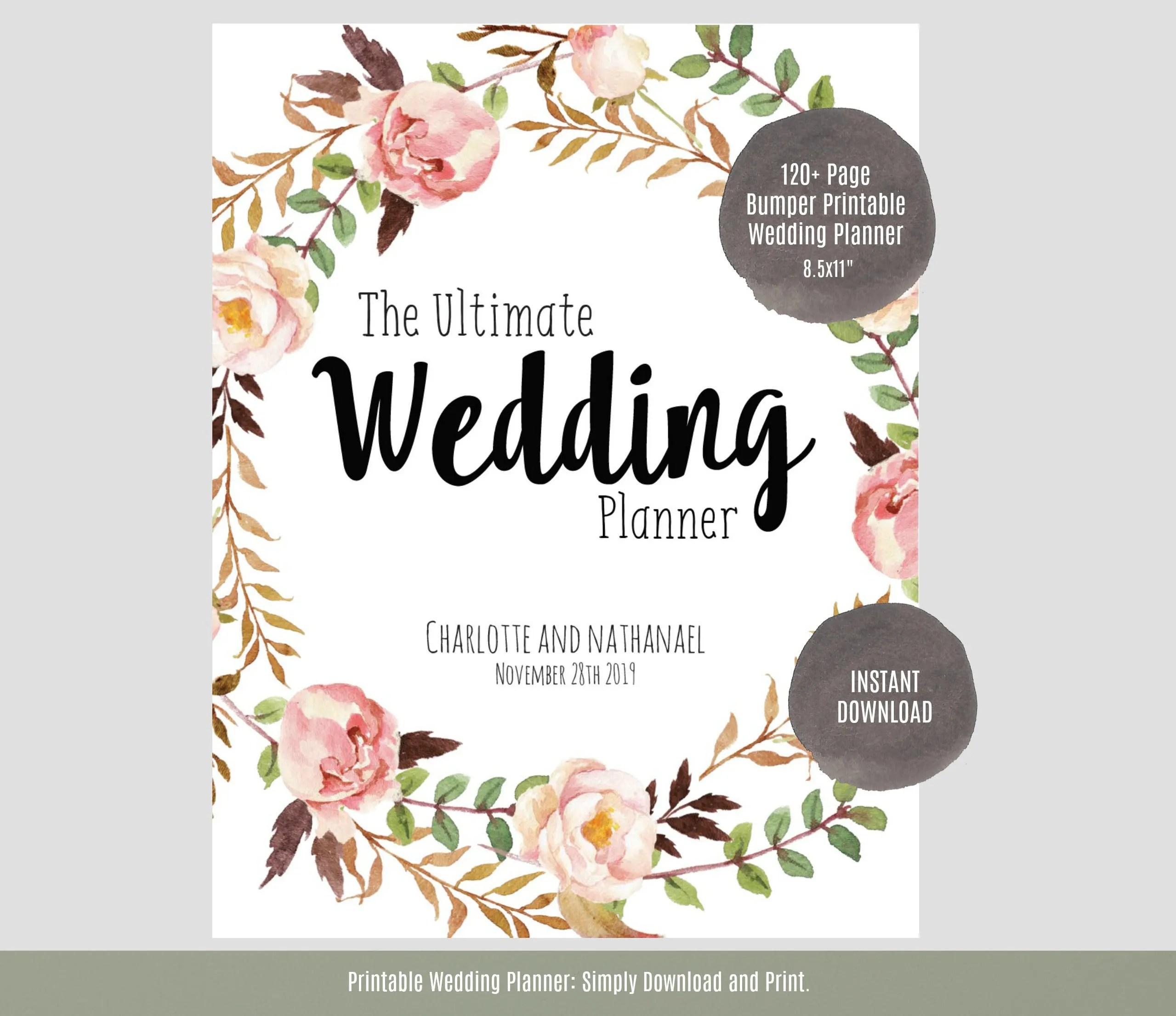 Wedding Planner Printable Wedding Planner Wedding Binder Etsy