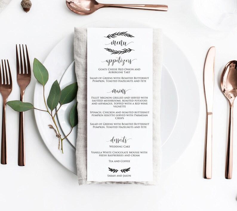 Wedding Menu Template Menu Card Rustic Wreath Wedding Menu Etsy