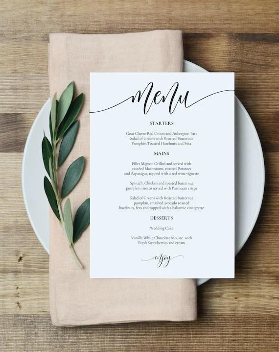 Wedding Menu Template Printable Menu Card 5x7 Wedding Etsy
