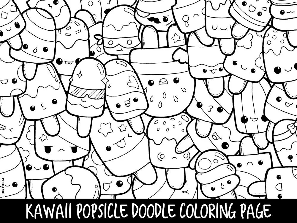 Popsicle Doodle Coloring Page Printable Cute/Kawaii Coloring Etsy