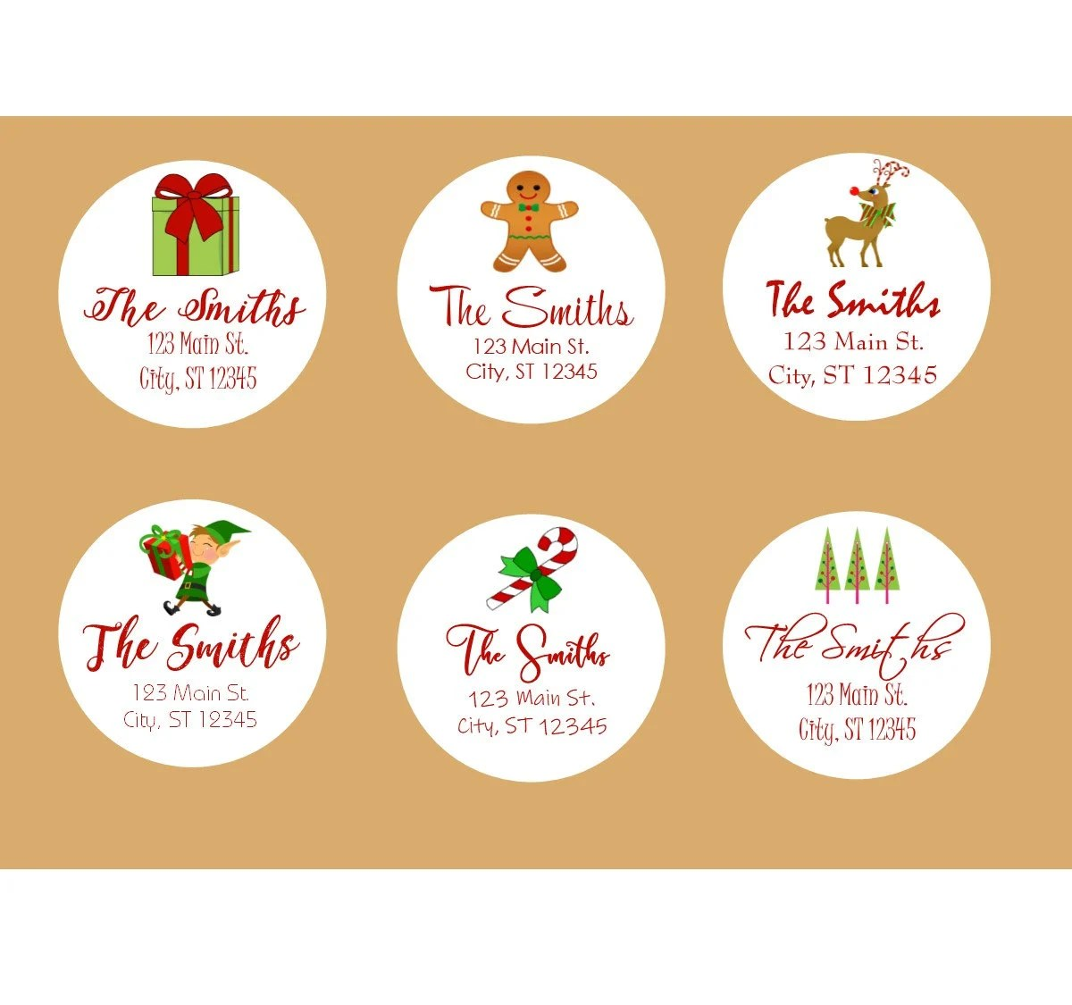 Holiday Christmas Labels Holiday Printable Address Labels Etsy