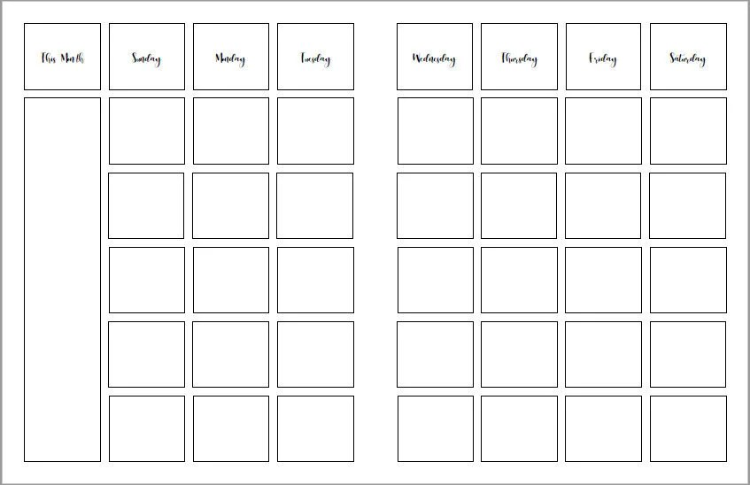Build-a-Planner Monthly Calendar Pages (Sunday Start) - Custom
