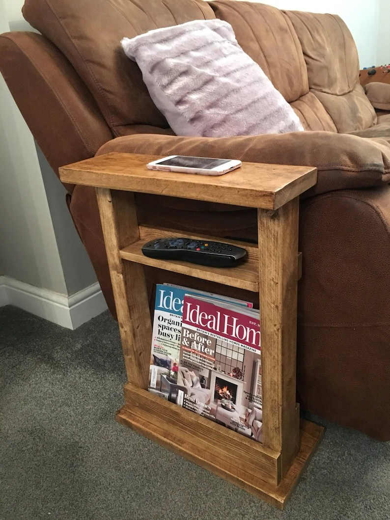 Settee End Table Narrow Side Table Slim Side Table End Table Sofa Table Magazine Rack Settee Table Rustic Quebec Pine
