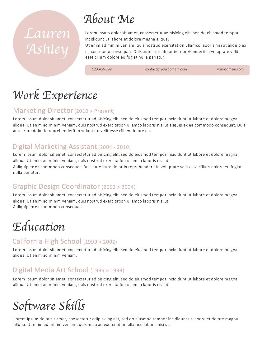 Blush Resume template INSTANT download Modern Resume Etsy