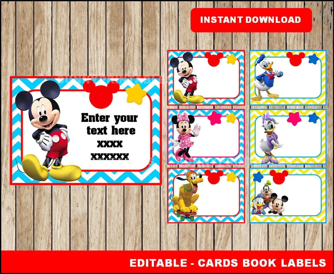 Mickey Mouse Printable Cards tags book labels stickers Etsy