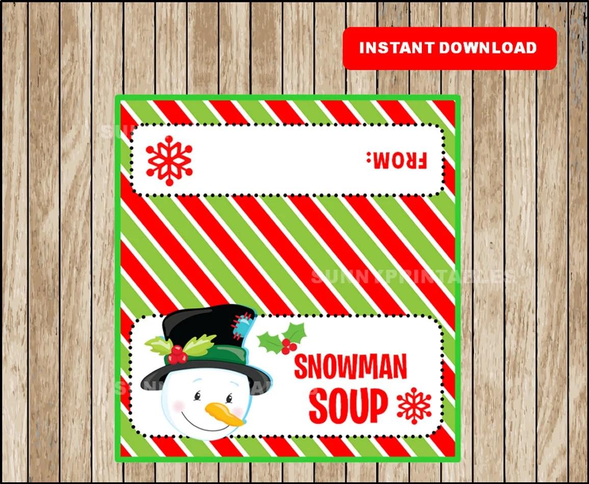 Snowman Soup Bag Topper Printable Christmas Gift Bag Topper Etsy