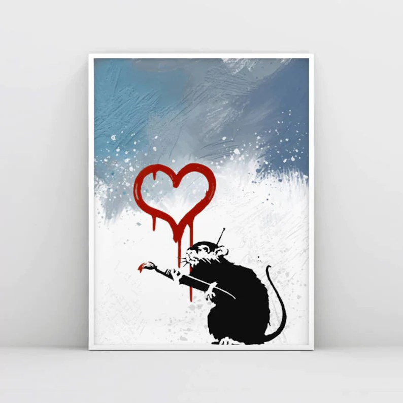 Banksy Print Love Rat Graffiti Art Banksy Painting Wall Etsy