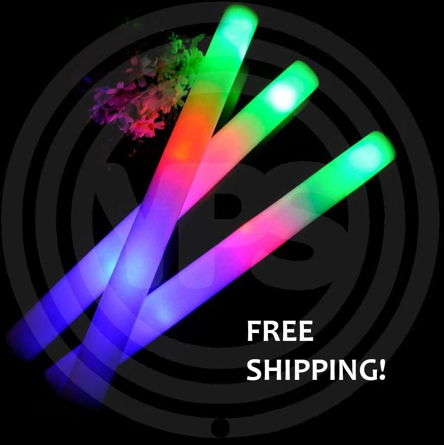 Led Glow Sticks Free Shipping 150 Plain Led Foam Glow Stick Batons 16