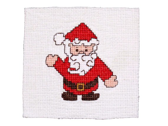 FREE SHIPPING Vintage Santa Claus Fabric Square Counted Etsy