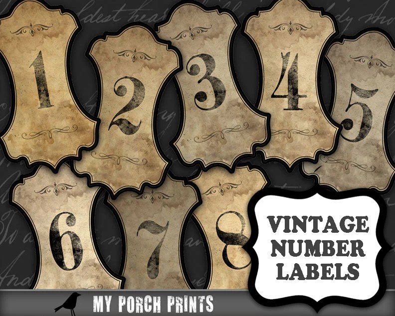 Number Labels vintage apothecary table numbers steampunk Etsy